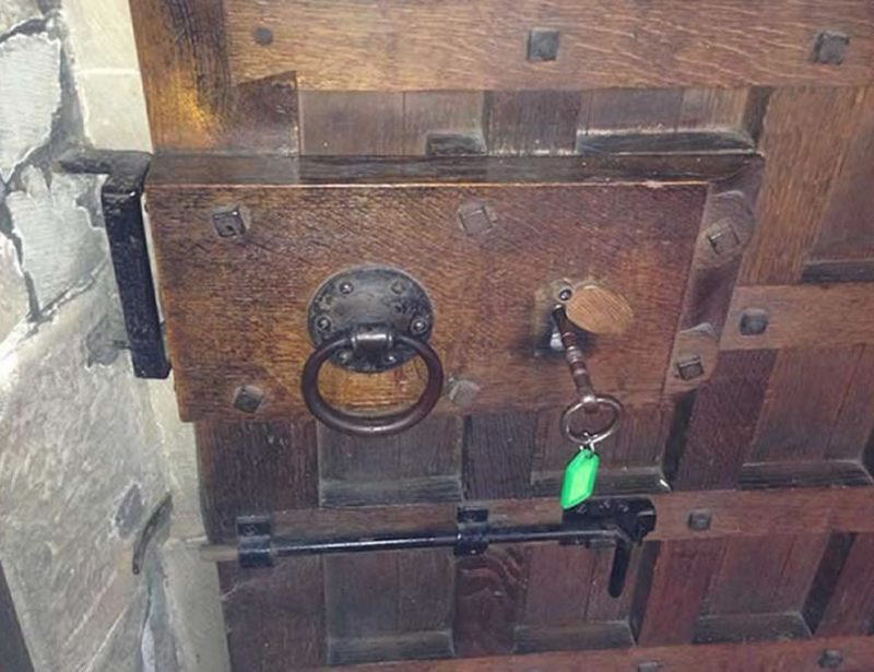 New lock fitted to old wooden door Macclesfield