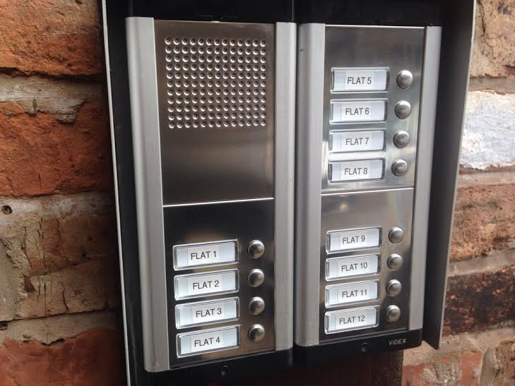 Intercom system on block of apartments Macclesfield Cheshire Supplied and fitted